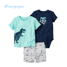HIMIPOPO 2017 New Baby Summer Suit Baby Boys Casual Clothing Set Children Short Sleeve Cotton T-shirt+Bodysuit+Shorts Pants 3pcs