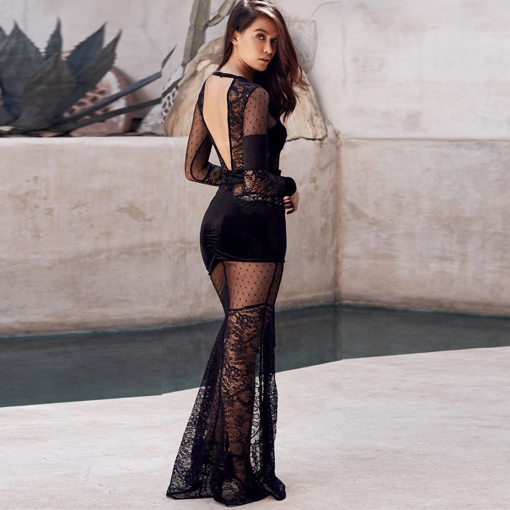 Top Quality Black Long Lace Sleeve Patchwork Open Fork Rayon Long Bandage Dress Elegant Evening Party Dress