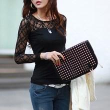ZANZEA Blusas Femininas 2015 Autumn Women Blouses Fashion Sexy Slim Shirts Tops Lace Long Sleeve O