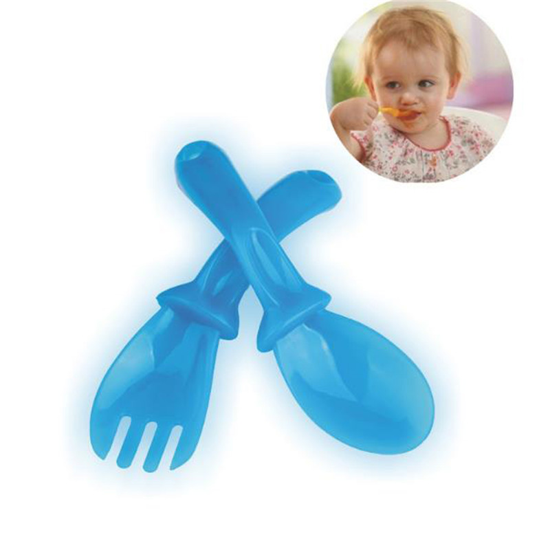 2019 New Hot Sale 4 Pairs/set  High Quality PP Baby Spoon Tableware Baby Learning Spoons Baby Feeding Spoon Fork Set