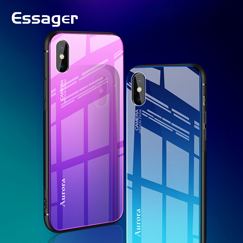 Essager Gradient Glass Case For iPhone X 10 Luxury Colorful Back Protective Tempered Glass Cover For Apple iPhoneX Coque Fundas