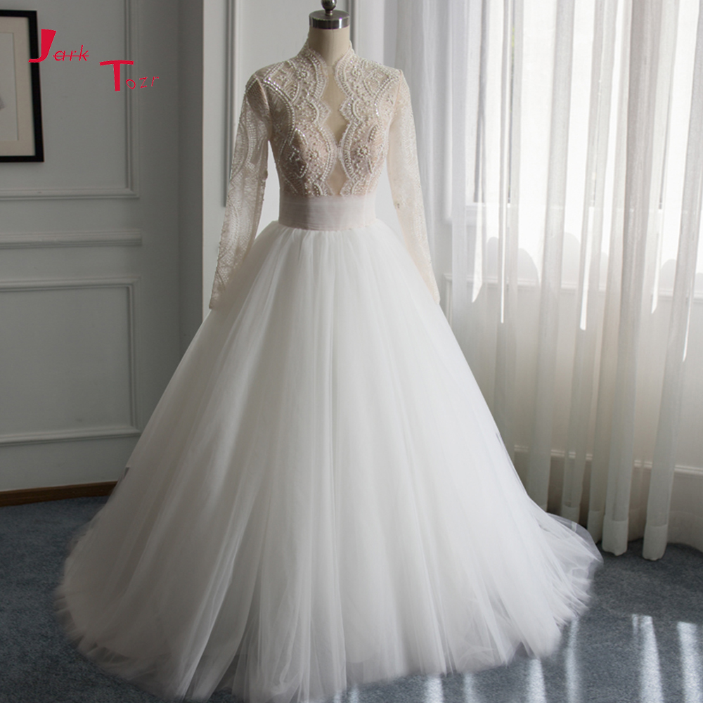 Jark Tozr Custom Made High Neck Full Sleeve Lace Beading Sequins A line Bridal Wedding Dresses