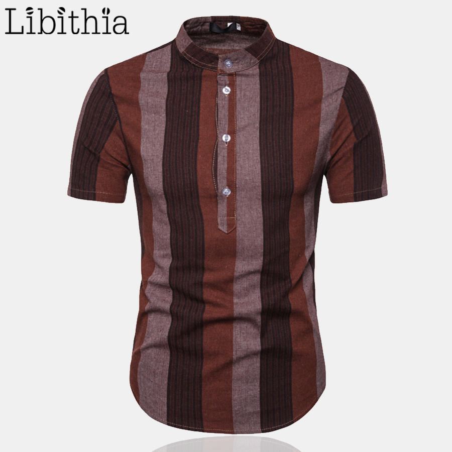 Mens Stripe Shirts Short Sleeve Summer 2019 Three Buttons Thin Mature Shirt Turn down Collar Red Black Coffee Clothes Male A16