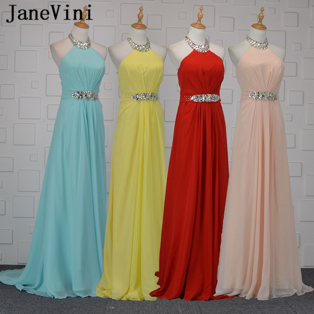 JaneVini Chiffon Light Sky Blue Long Bridesmaid Dresses A Line Halter  Beaded Crystal Backless Formal Prom Gowns Robe Mousseline c1290657cfbb