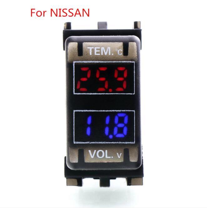 Interface de carro DC12V Tensão & display de temperatura Digital LCD Termômetro Medidor para Carro Bateria Use Para NISSAN qashqai,, tiida, x-t