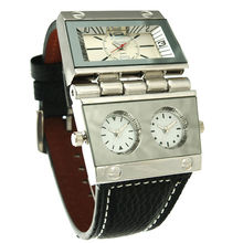 Caliente clásico negocio de Los Hombres reloj militar oulm reloj doble movimiento de cuarzo de lujo de cuero genuino 9525 marca ejército reloj de pulsera