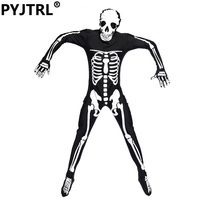 Adult Male Skull Skeleton Ghost Suits Body Costumes Santa Dance Party Dress Ordinary Outfit Black