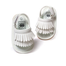 White color newborn baby sandals leather tassel baby mocassins hot moccs baby girls boys sandals 0~18month