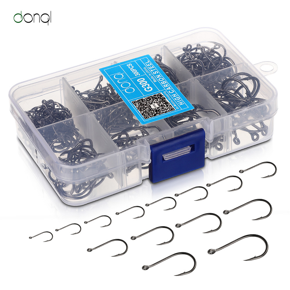 Fishing DONQL 300pcs/Box High Carbon Steel Fishing hooks Mixed Size Barbed jig hook Carp Fishing Jig Head for Fly fishing Accessories