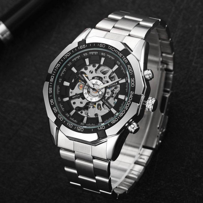 7ddc1c6cd Mens Watches Top Brand Luxury Stainless Steel Skeleton Watch Automatic  Mechanical Wristwatch Mens Outdoor Fashion Casual Clock-in Mechanical  Watches from ...