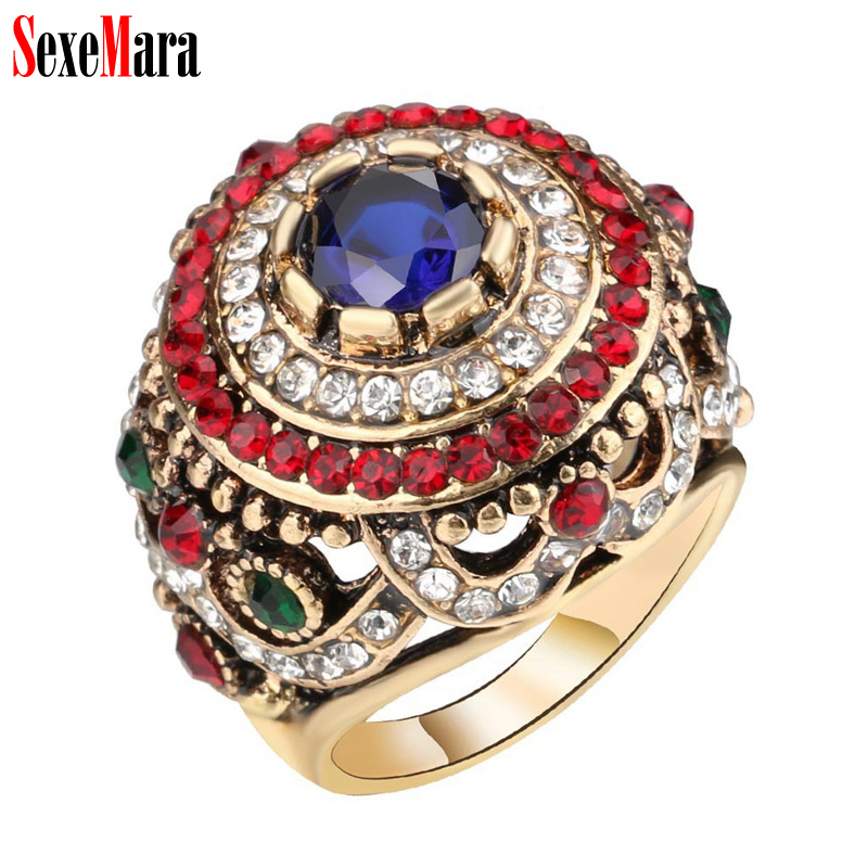 SexeMara Bohemia Crystal Rhinestone Hollow Ring Men Women Luxury Alloy Plated Antique Gold Retro Finger Rings Ladies Man Jewelry