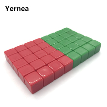 Yernea 20Pcs 12mm Blank Dice Acrylic Red and Green Mini Blank Dice Children Interesting Teaching and Puzzle Game Prop Wholesale acrylic 10 side game dice green 5 pcs