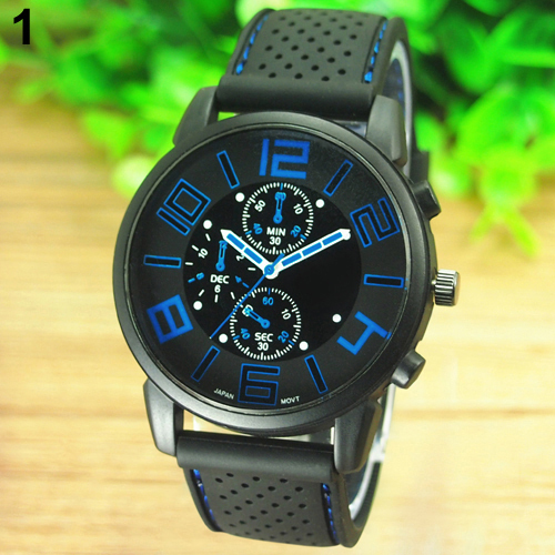 2015 Men's Casual Sports Stainless Steel Silicone Band Quartz Analog Wrist Watch