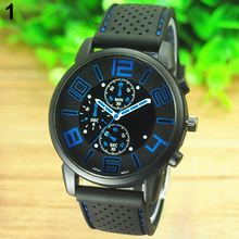 2015 Men's Casual Sports Stainless Steel Silicone Band Quartz Analog Wrist Watch 5ZF6 C2K5W