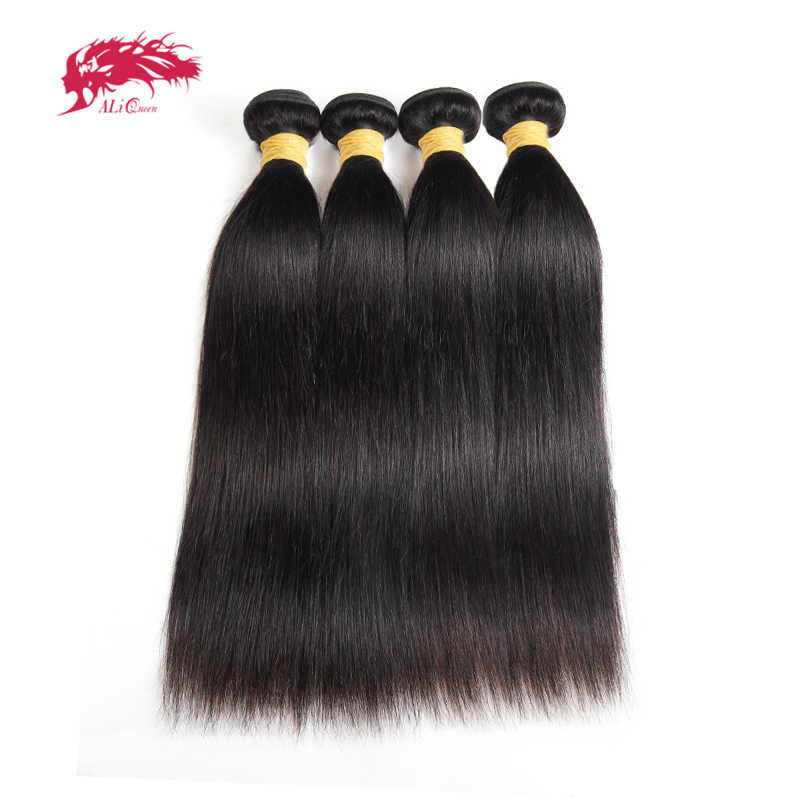 "Ali Queen Hair Products 4pcs Lot 10A Indian Virgin Hair Bundles Natural Color Straight Human Hair Weave Bundles 8""-24"" In Stock"