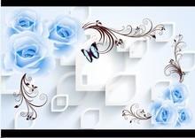 3d stereo blue roses large mural wallpaper modern fashion romantic flowers painting colorfast living room Sofa TV backdrop decor