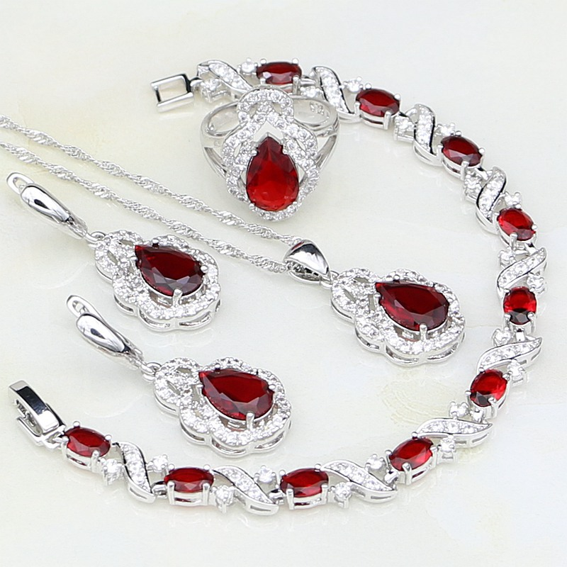 White CZ Red CZ Sterling Silver