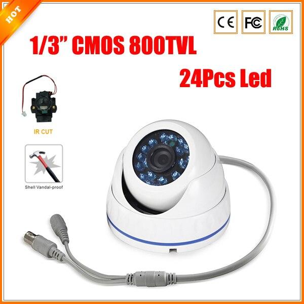 "bilder für 24 stücke Led IR-CUT Vandalproof Outdoor CMOS Dome 800 TVL 1/3 ""Objektiv Cctv Kamera CCTV"