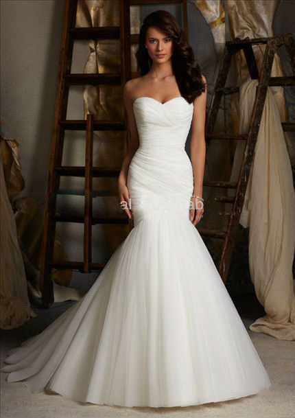 White Tube Top fishtail wedding dress long section Fold strap small ...