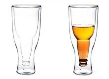 2pcs/lot 300ml Double Wall Layer Heat-Resisting Glass Upside Down Bottle Shape Glass