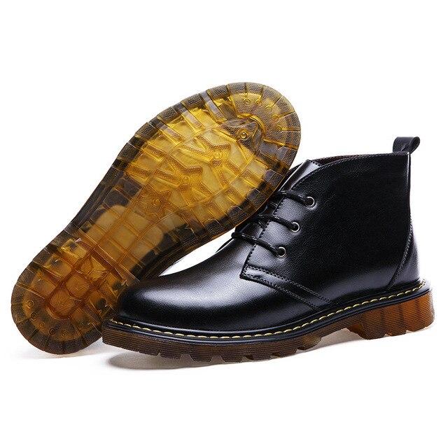 Nueva moda Negro hombres del cuero genuino Botas del tobillo del invierno botas para hombres zapatos Martin botas de alta calidad chaussure homme 2016