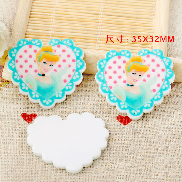 kawaii DIY heart Cinderella mini Figurine crafts holiday garden decoration flat back planar resin hair accessories