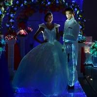Световой вечернее платье линии большой платье свадебный кружевной для невесты до светодио дный платье ткань из оптического волокна загора