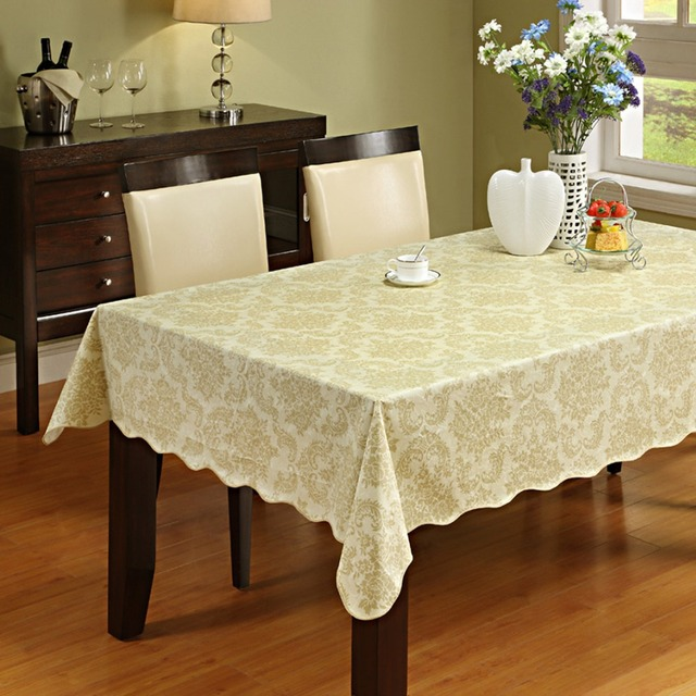 Attirant Table Cloth Flannel Backed Vinyl Tablecloth Waterproof Dining Table Cover  For Kitchen Home Decor