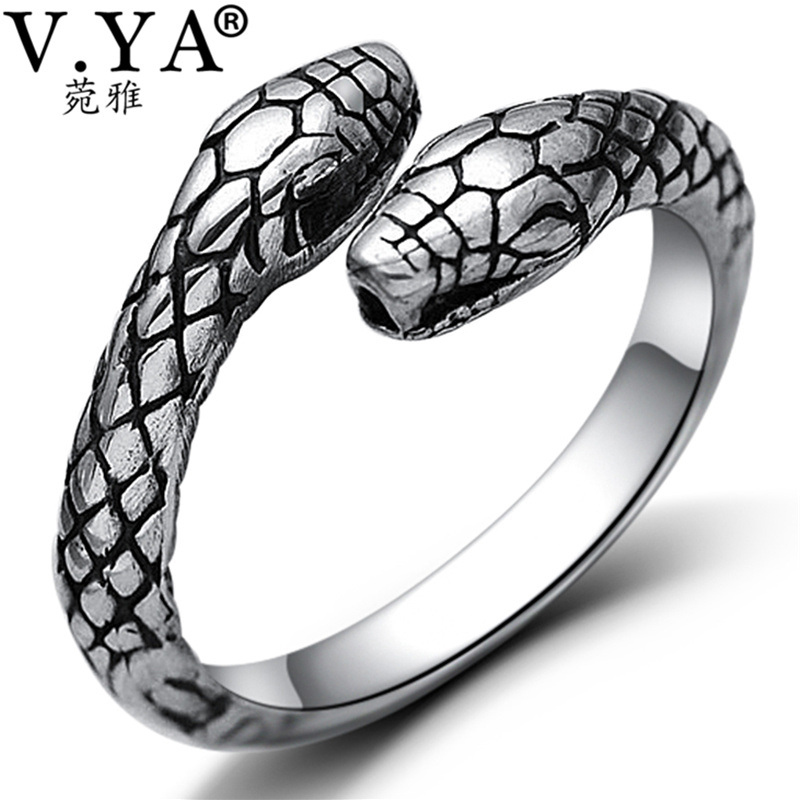 V.YA Cool 925 Sterling Silver Open Ring for MenWomen Double Head Snake Rings Jewelry S925 Silver Party Birthday Gift