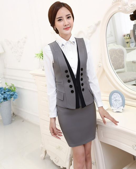e8506e97f5 New Novelty Grey Uniform Styles 2015 Spring Autumn Formal Business Work  Suits Vest + Skirt Ladies