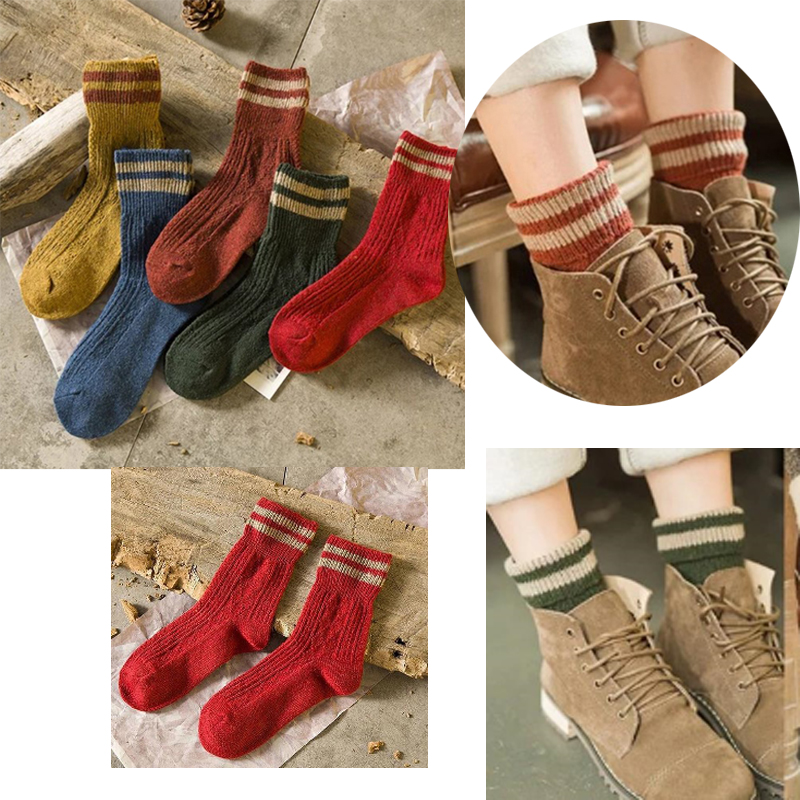 5 Pairs  Striped Fashion Autumn Winter Elastic Women's Socks Warm Thick Wool Cashmere Hosiery