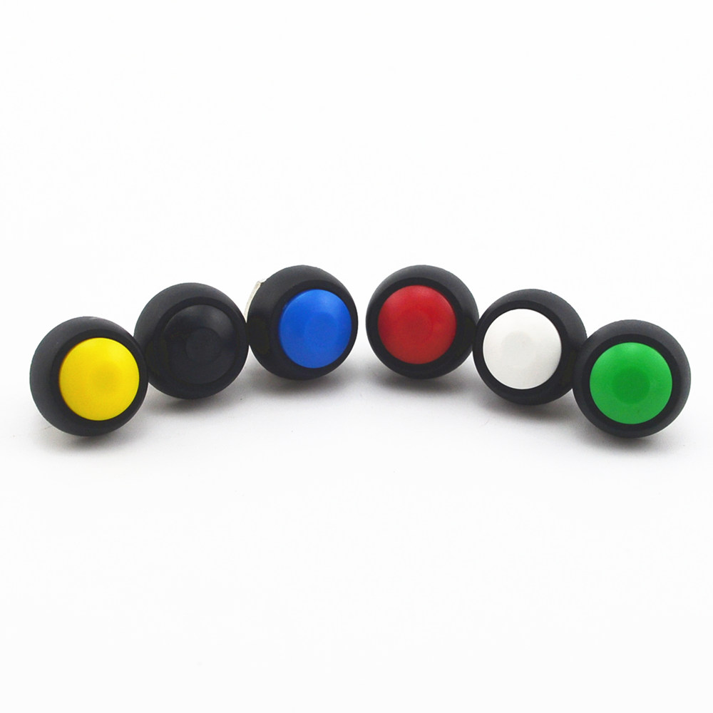 5Pcs Black/Red/Green/Yellow/Blue ON-OFF 2Pin 12mm Waterproof Momentary Push button Switch SPDT 125V 3A
