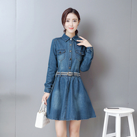 New Arrived Autumn Spring Dress Woman Slim Fashion Casual Work A Line Denim High Waist All