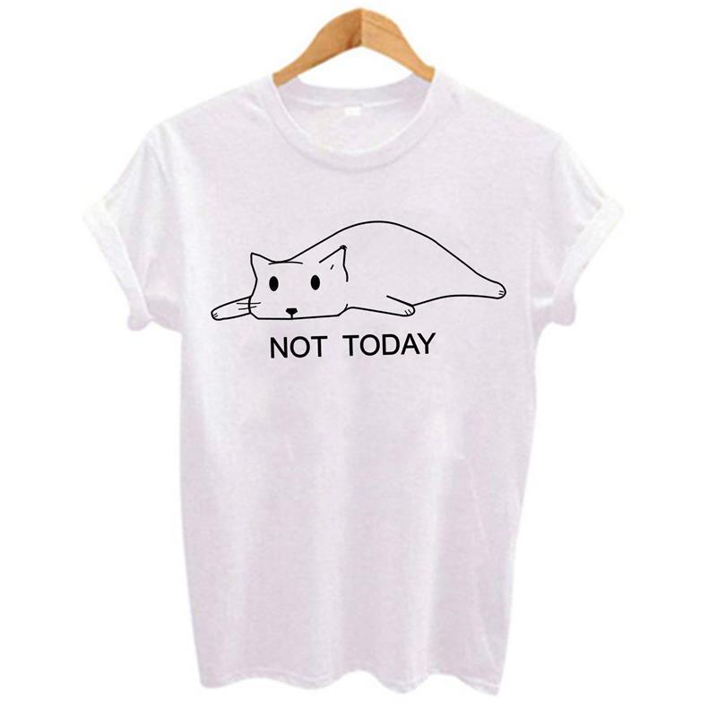 Not Today Lazy Cute Kitten Graphic Tees Women Polyester Fit Tshirts Casual Summer Tees & Tops Black Harajuku Kawaii Tee Shirts