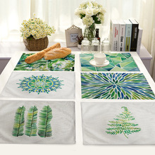 Pastoral Green Leaves Pattern Table Placemats Rectangle  Mats for Dining Linen Kitchen Accessories Decoration Home