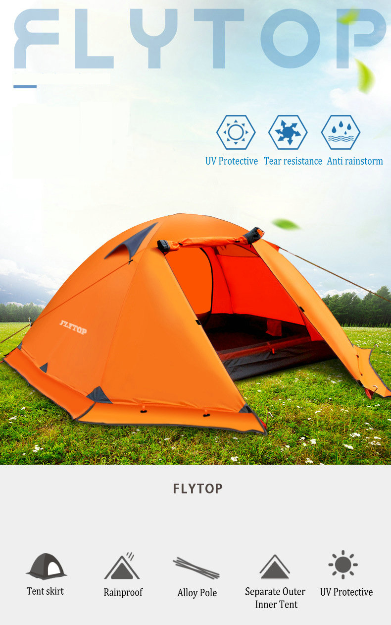 FLYTOP Outdoor Camping Tent For Rest Travel 2 Persons 3 Double Layer Windproof Waterproof Winter Professional Camp Tourist Tent (1)