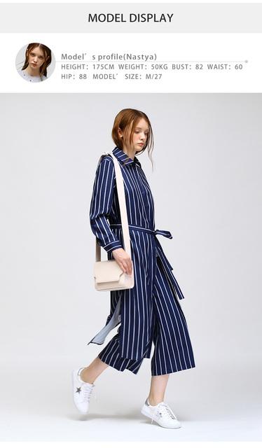 Vertical Stripes Lapel Button Silts Hem Long Casual Women Shirts Fashion Blouses