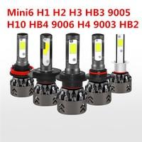 Car Headlights Mini6 H1 H2 H3 HB3 9005 H10 HB4 9006 H4 9003 HB2 LED 2PCS 6000K COB 80W 7600LM Auto Headlight Fog Light Bulbs