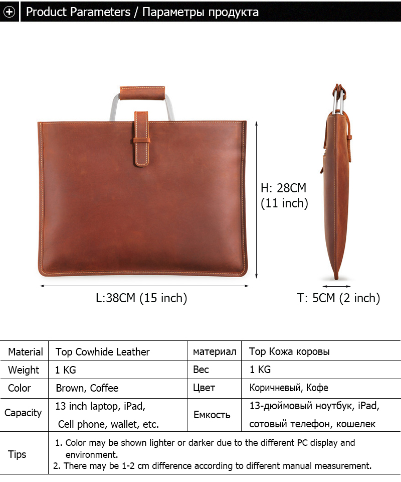 Genuine Leather Men's Handbags Crazy Horse Leather Man Retro Tote Bag Shoulder Messenger Bag Business Men Briefcase Laptop Bag