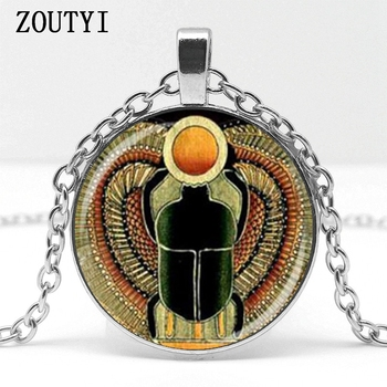 Power Symbol Egyptian Scarab Glass Dome Pendant Necklace 1