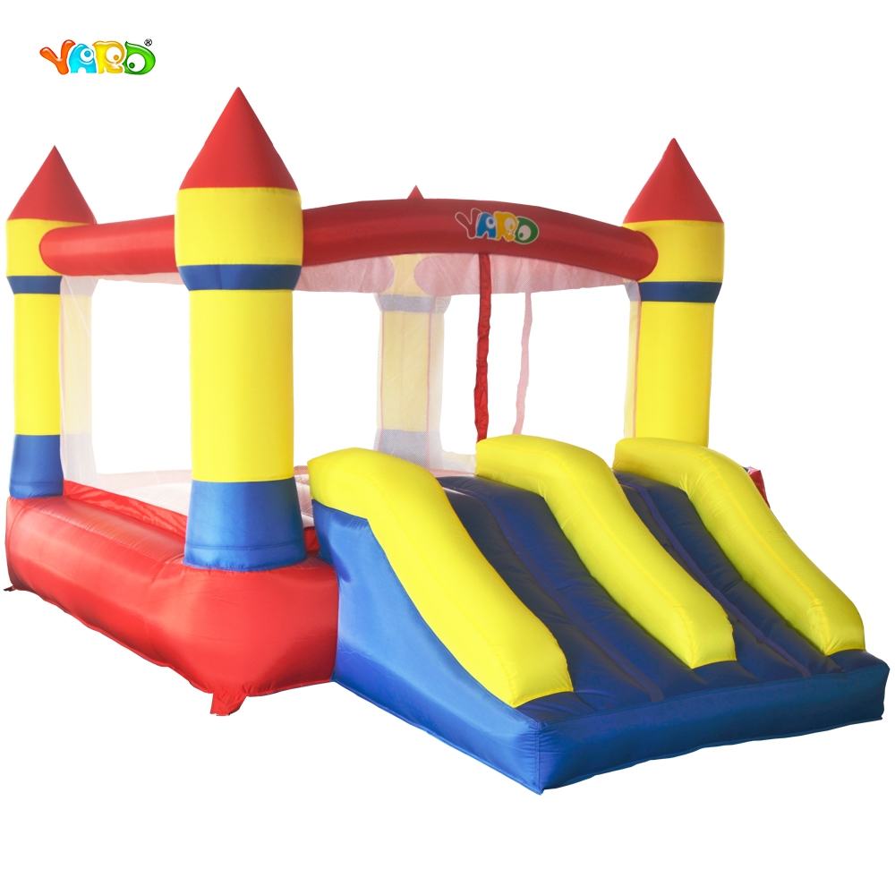 Free Blower Balls YARD Inflatable Bouncer Castle Double Slides Inflatable Bouncy Trampoline Ship Express Christmas Gift цена
