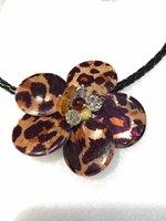 Leopardenmuster shell abalone shell blume halskette 18 inch natur geschenk großhandel perlen FPPJ