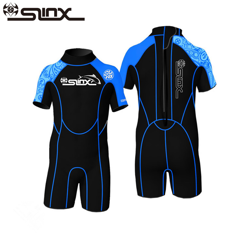 цена на Slinx 2mm Neoprene Kids Shorty Wetsuit Boys Girls Swim Scuba Diving Wet Suit Snorkeling Surf Wear Rash Guard Clothes 3 Colors