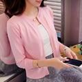 DisappeaRanceLove Марка Весна женщин свитер тонкий длинными рукавами о-образным вырезом кардиган короткий дизайн небольшой мыс тонкая верхняя одежда