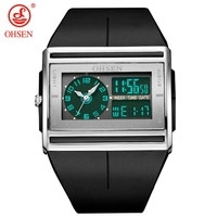Venta superior Ohsen de cuarzo Digital negro de moda de los hombres reloj de pulsera 30M impermeable banda de goma LCD Deporte Hombre Relojes regalos orologio uomo