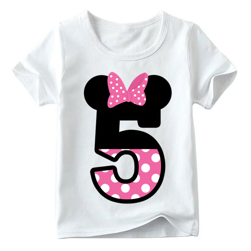 Baby Boys/Girls Happy Birthday Letter Bow Cute Print Clothes Children Funny T shirt,Kids Number 1-9 Birthday Present,HKP2416 11