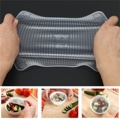 4Pcs/Lot Clear Reusable Silicone Food Wraps Seal Cover Stretch Multifunctional Food Fresh Keeping Saran Wrap Kitchen Tools