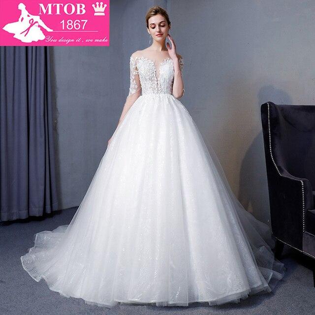 New Design A Line Lace Wedding Dresses 2018 V Neck Beaded Sash ...