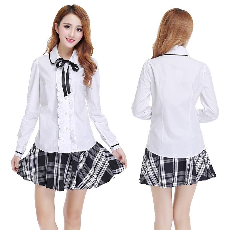 Student Short Skirt Long Sleeve Shirt School Uniform Japanese Sailor Uniforms School Girl Skirt 3pcs