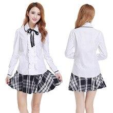 Student Short Skirt Long Sleeve Shirt School Uniform Japanese Sailor Uniforms Girl 3pcs